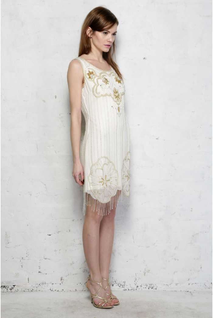 Cream And Gold Flapper Dress