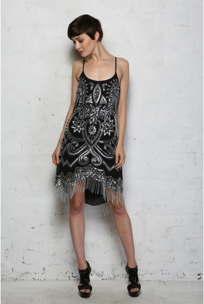Black And Silver Flapper Dress