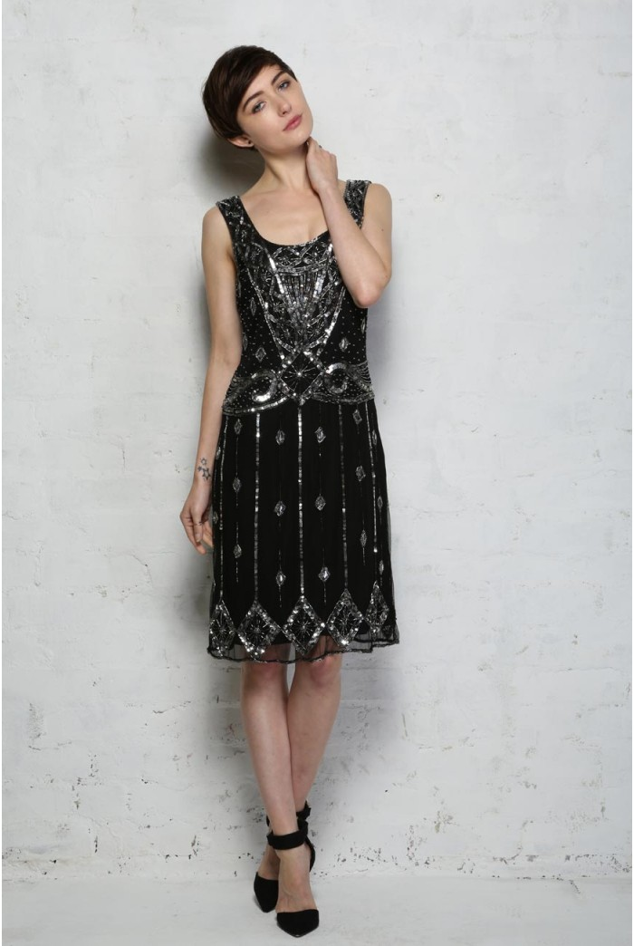 Black Beaded Flapper Dress