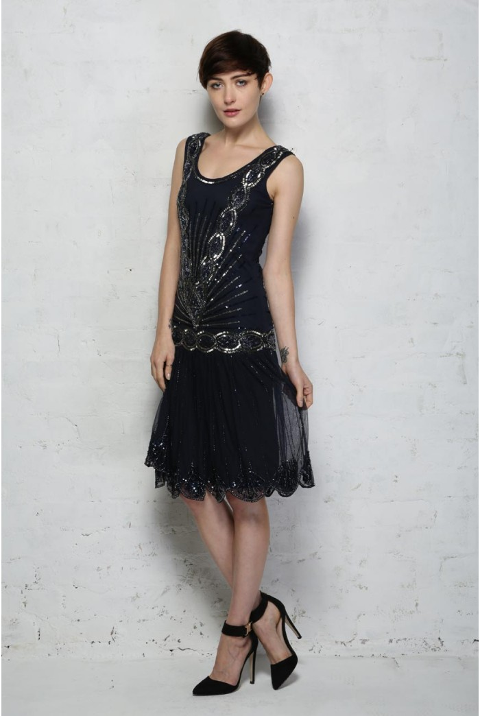 Zelda Flapper Dress - Navy