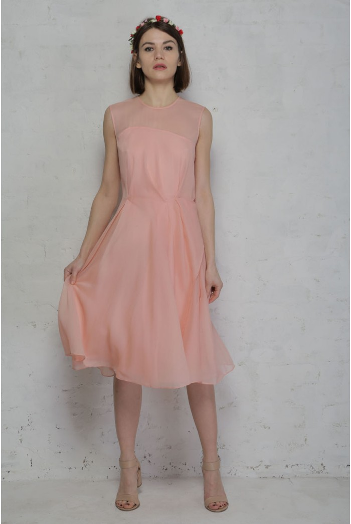 Rose Tan French Connection Sunray Chiffon Dress