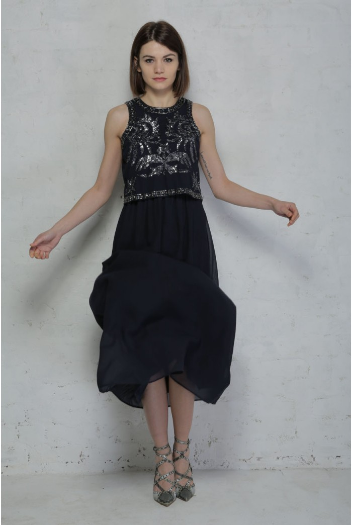 Blue Beaded Maxi Dress