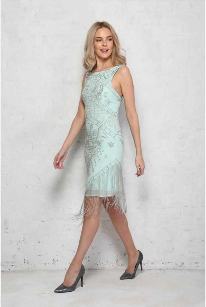 Green Beaded Flapper Dress