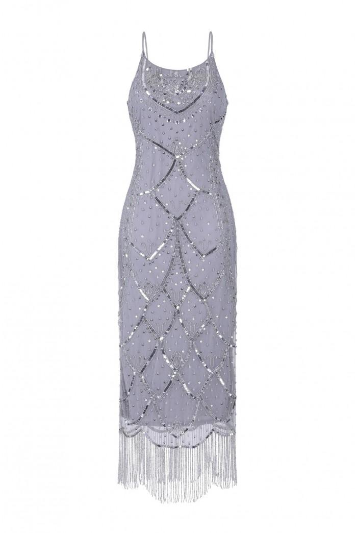 Silver Midi 1920s Dress