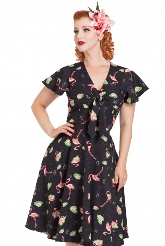 Flamingo Print Tea Dress