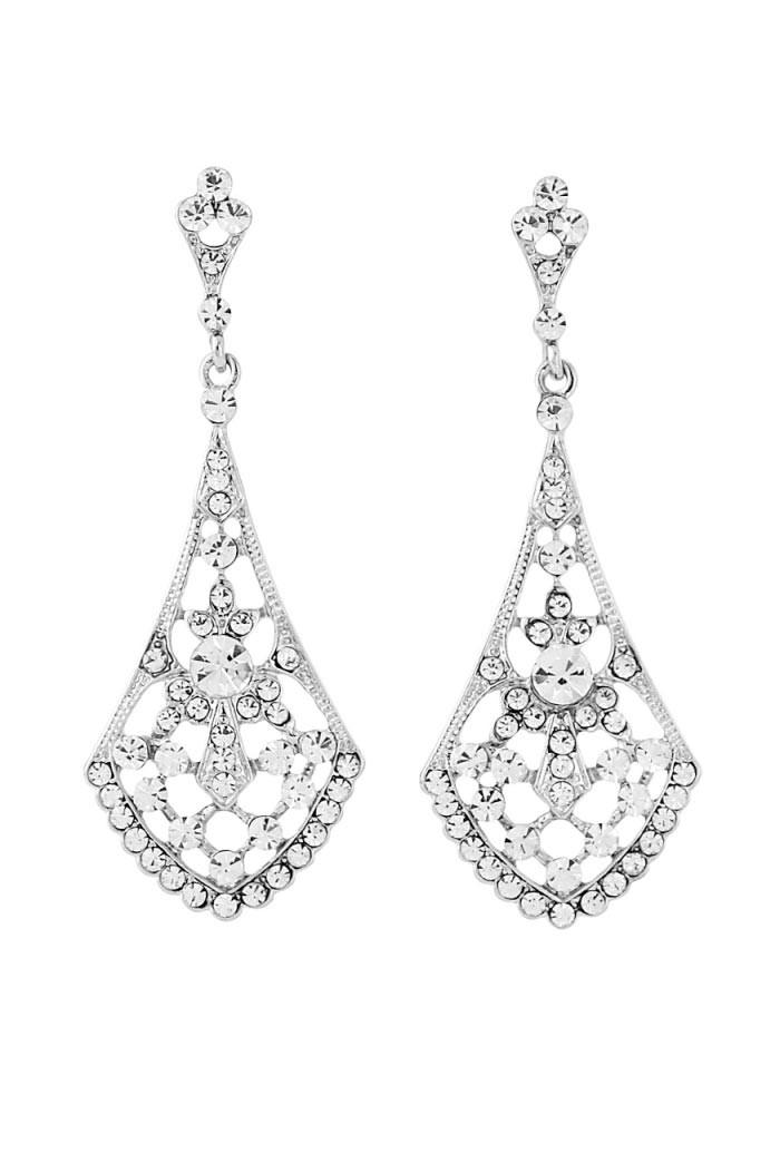 gatsby fan earrings silver diamante earrings