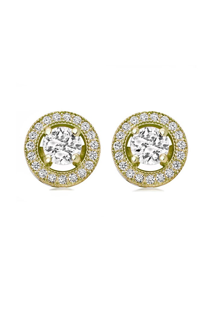 Round Gold Art Deco Earrings