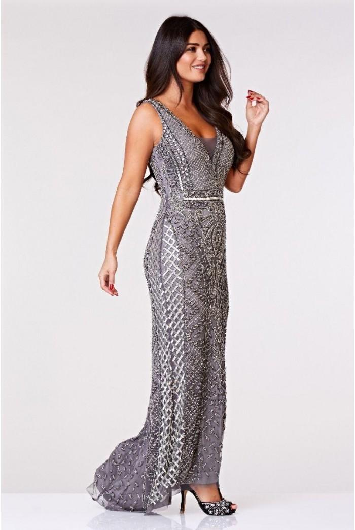 Silver 1920s Maxi Dress