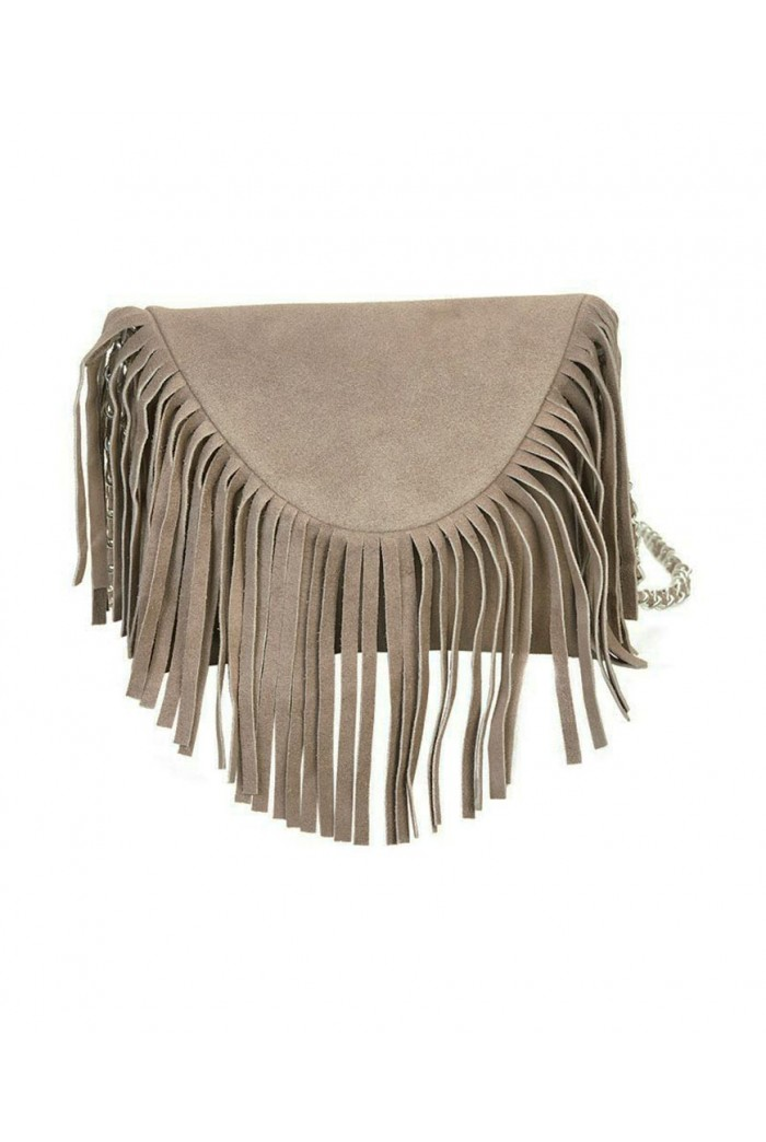 Grey Tassel Shoulder Bag