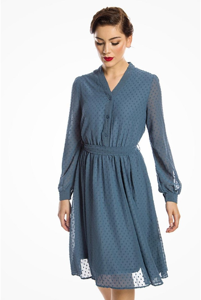 Long Sleeved Blue Shirt Dress