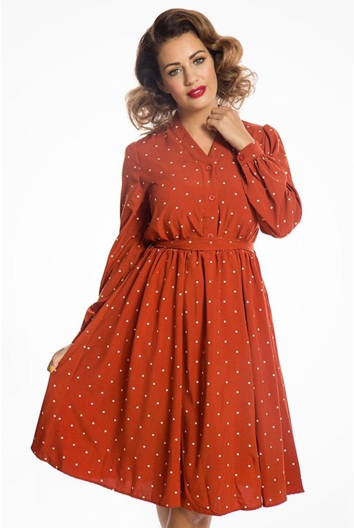 Rust Polka Dot Sleeved Dress