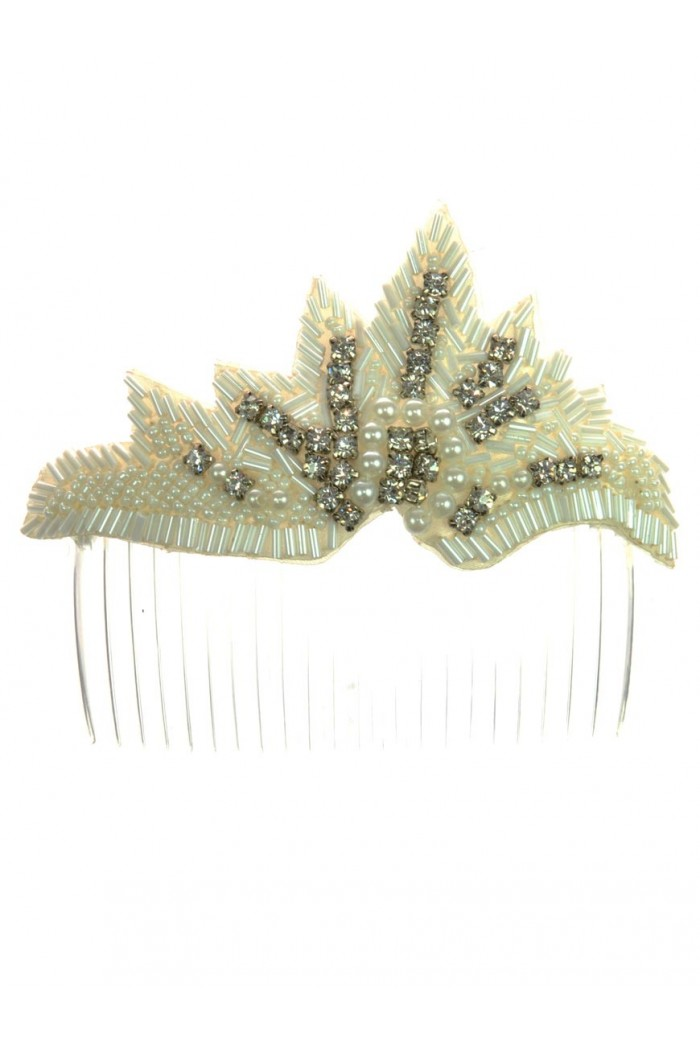Silver Beaded Hair Comb