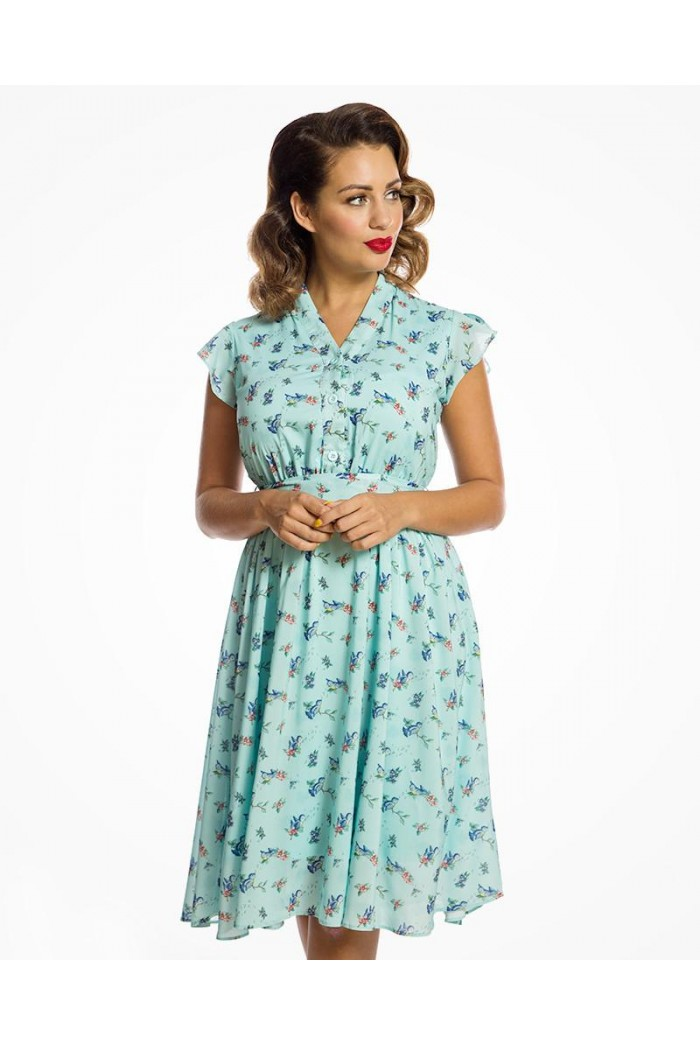 Blue Bird Print Tea Dress