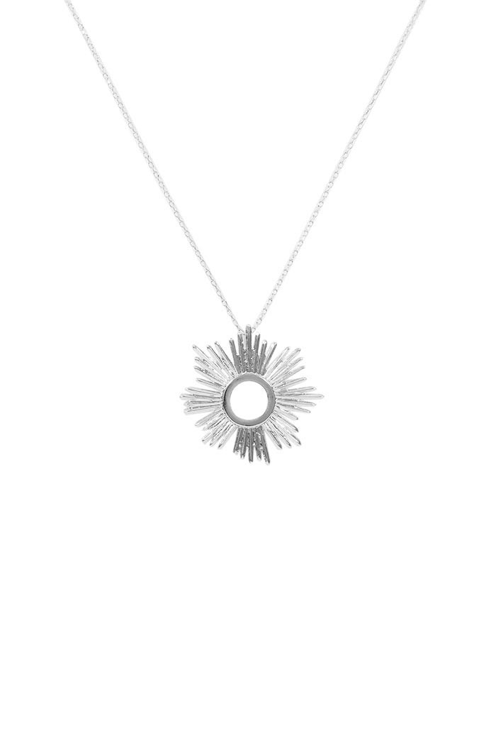 Large Silver Sunburst Necklace