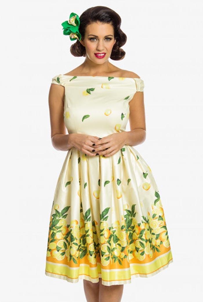Off The Shoulder Lemon Print Dress