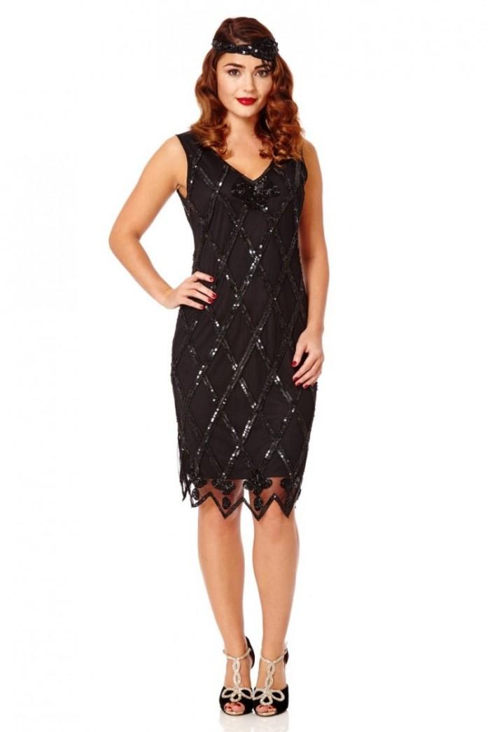 Beaded Flapper Dress In Black