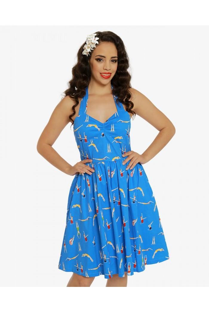 Swimmer Print Prom Dress
