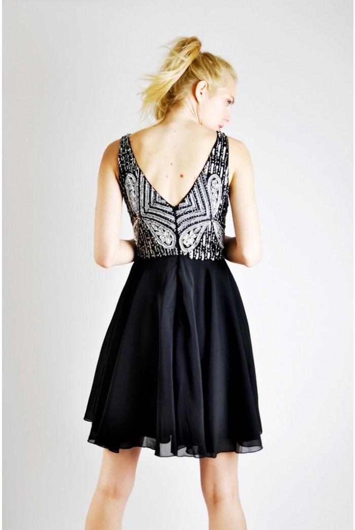 Black Beaded Skater Dress Sequinned Prom Dress