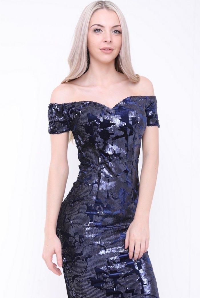 Navy Sequin Bardot Dress
