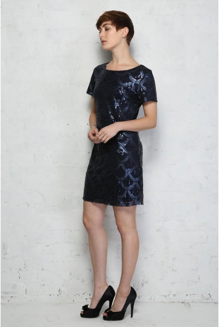 Blue Sequin Flapper Dress