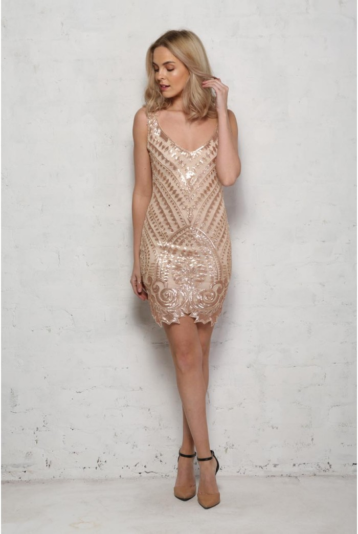 Nude and Gold Flapper Dress