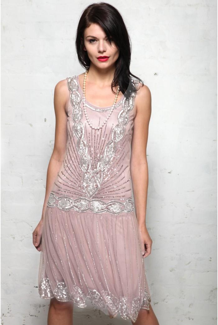 Pink Embellished Flapper Dress