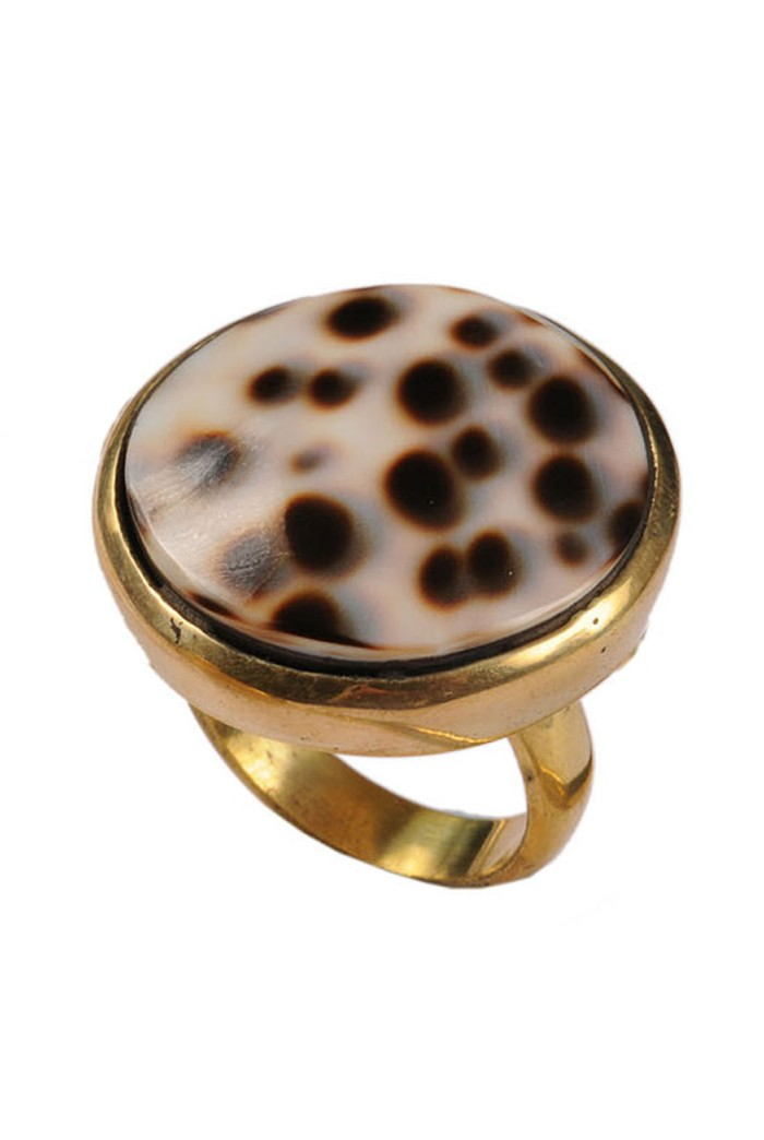 Mirabelle Tiger Spot Shell Ring