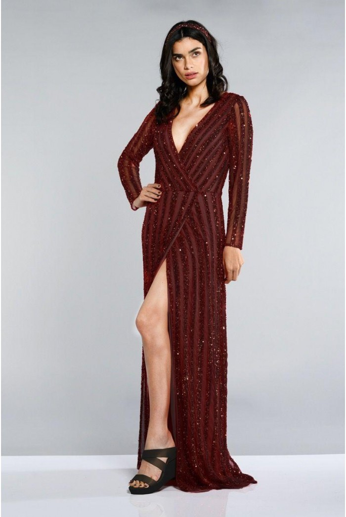Burgundy Wrap Maxi Dress