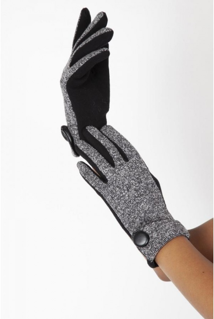Grey Button Gloves