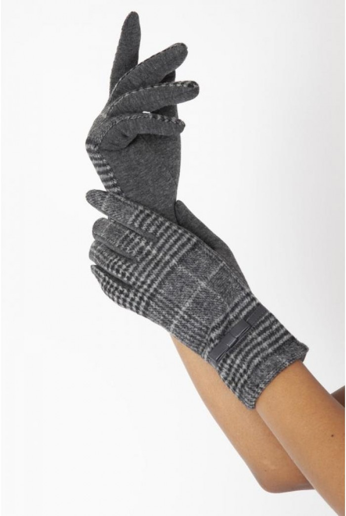 Grey Plaid Gloves