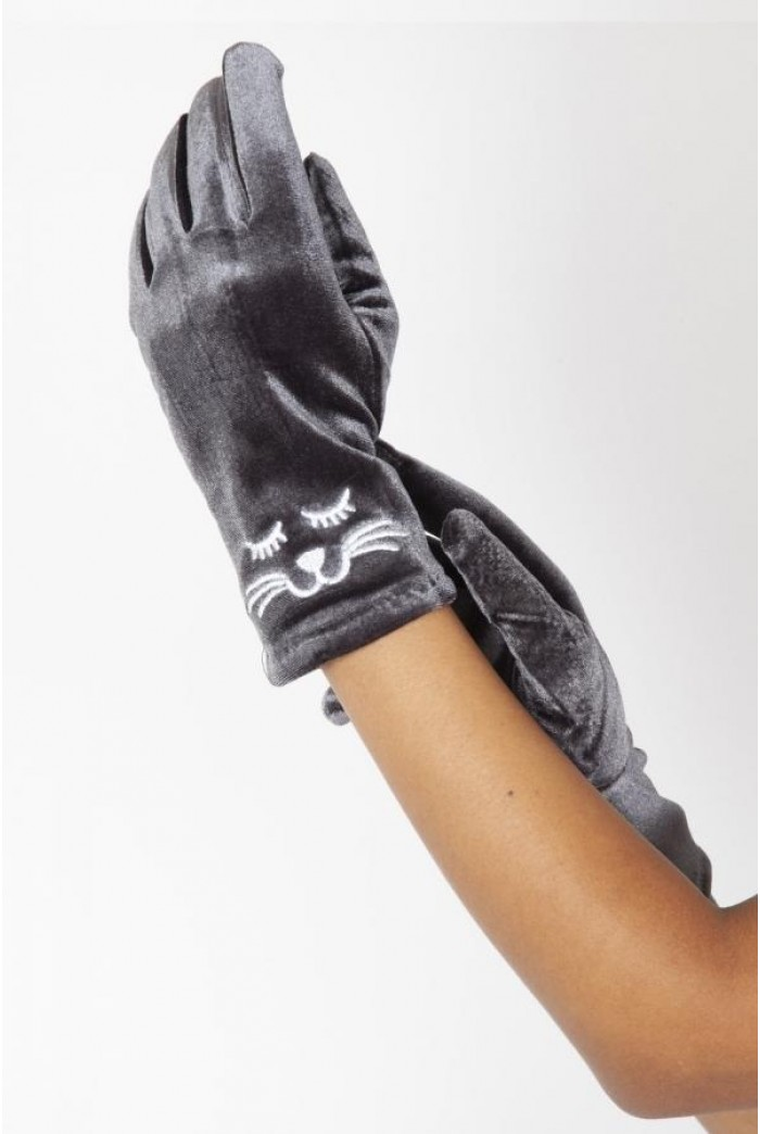 Grey Velvet Cat Gloves