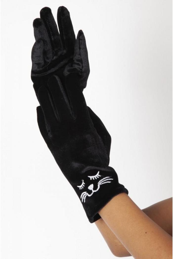 Black Velvet Cat Gloves