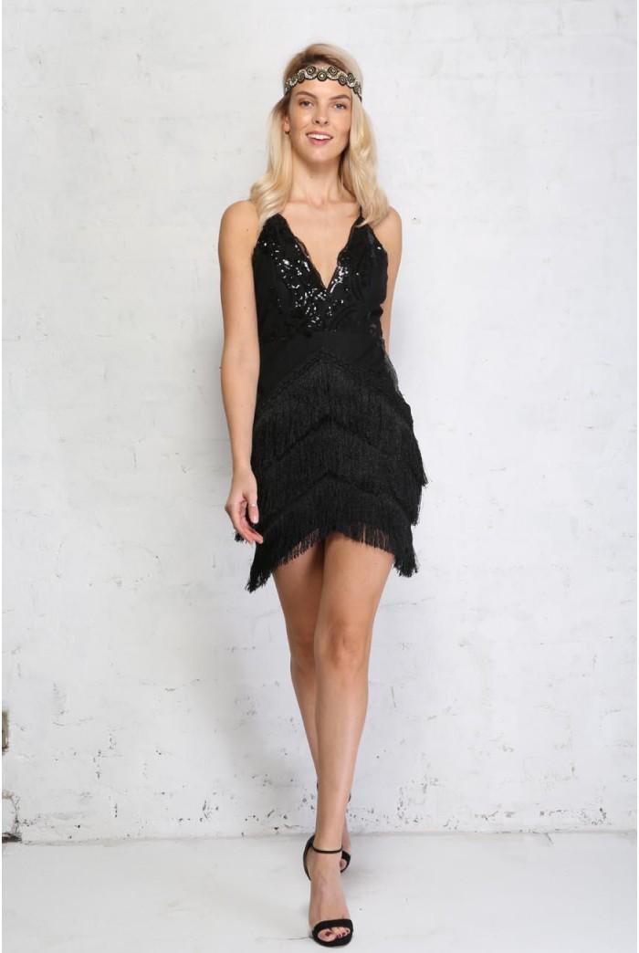 Black Fringed 1920s Dress