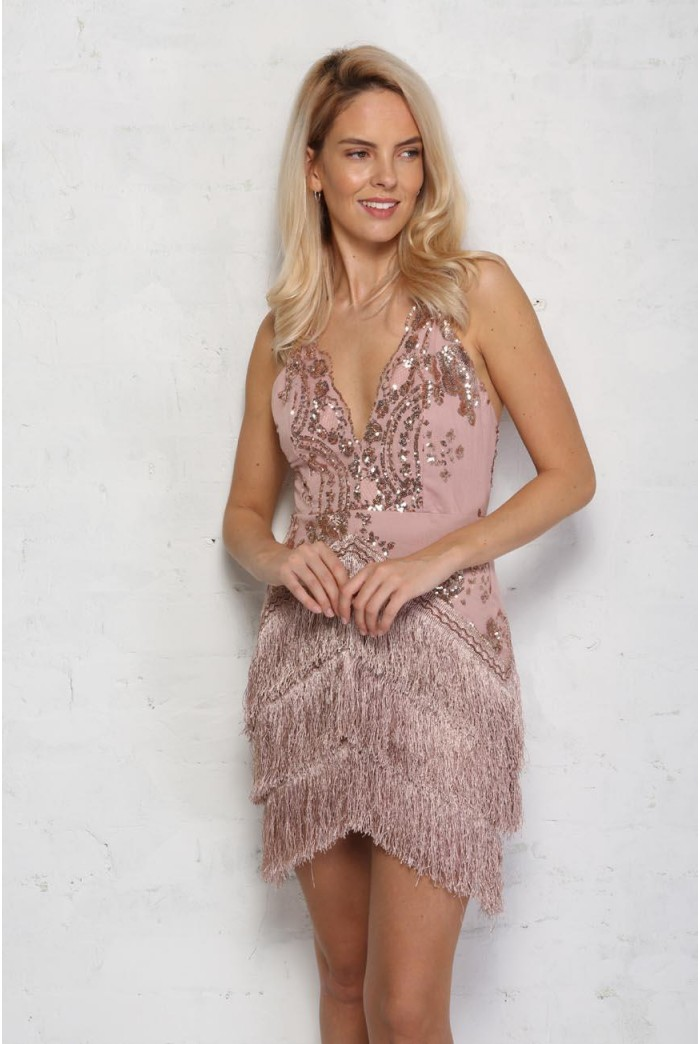 Pink Fringed 1920s Dress