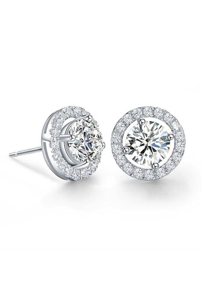 Round Silver Art Deco Earrings