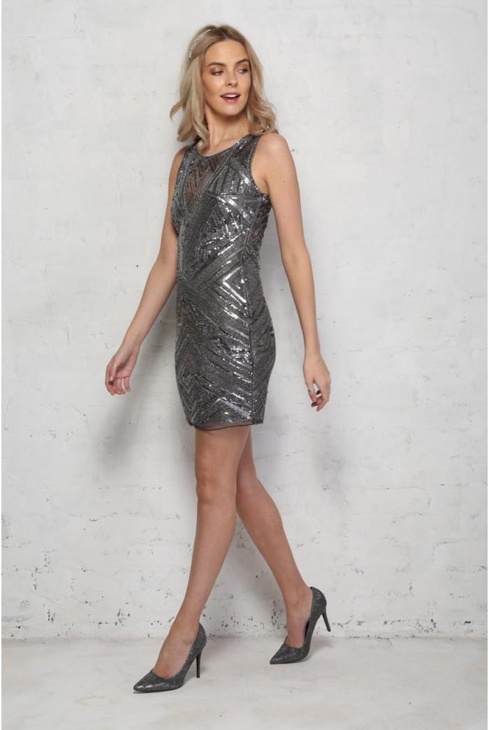 Silver Deco Flapper Dress