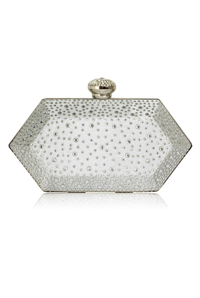 Silver Crystal Art Deco Clutch