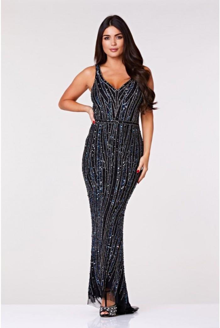 Black And Navy Gatsby Maxi Dress