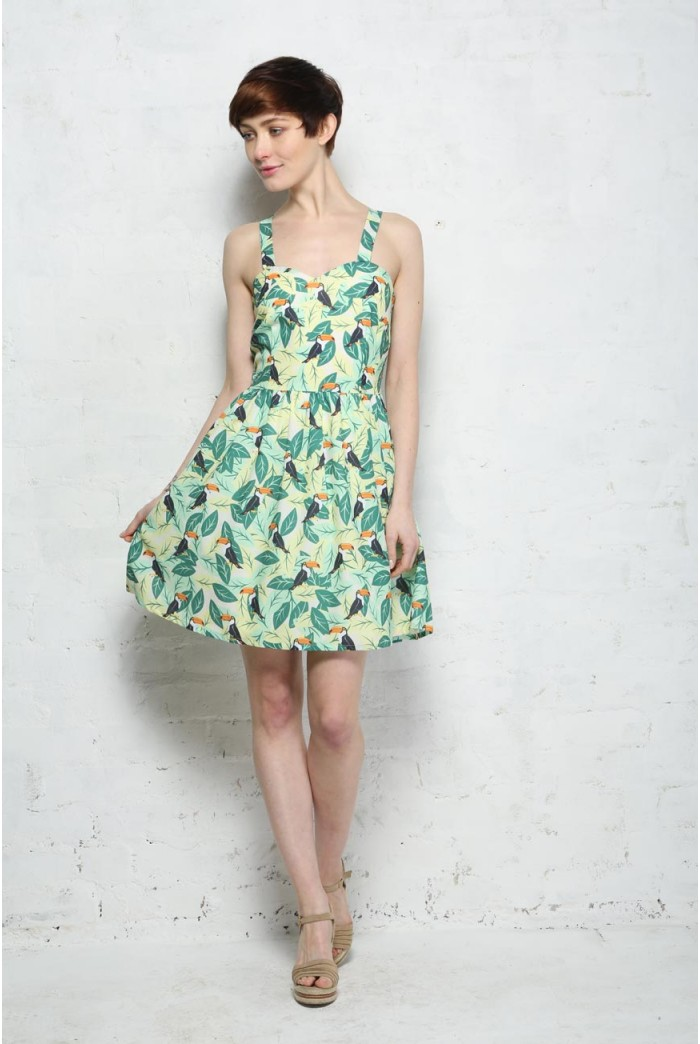 Sugarhill Boutique Toucan Tropical Print Sun Dress