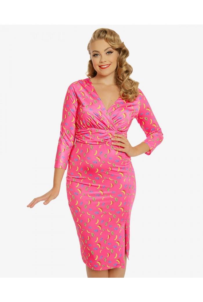 Banana Print Wiggle Dress