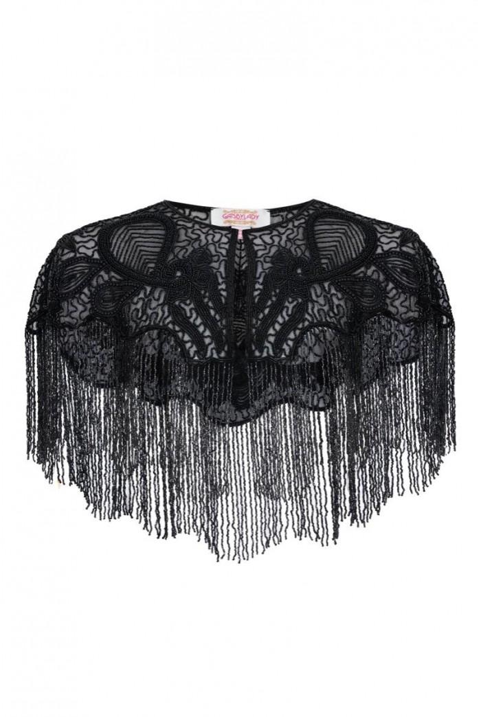 Suzi Hand Embellished Cape in Black