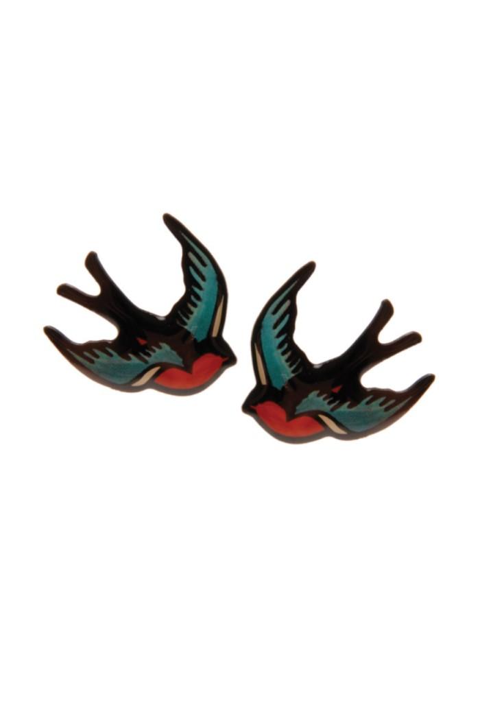 Tatty Devine Red Swallow Earrings