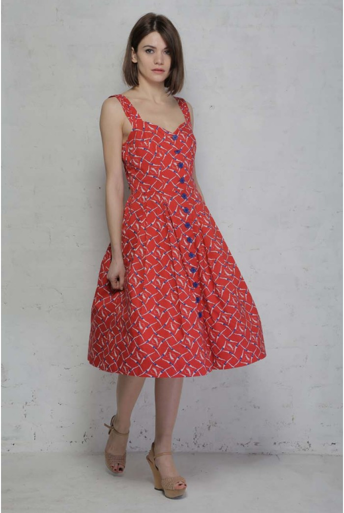 Red Printed Tea Dress