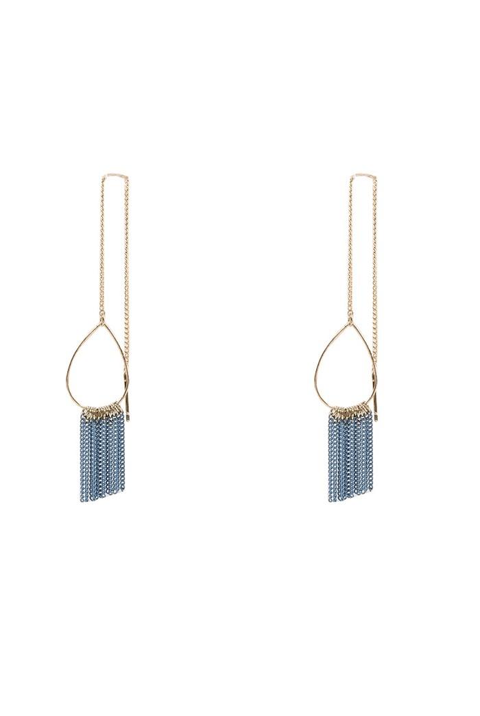 Gold Tasselled Hoop Earrings