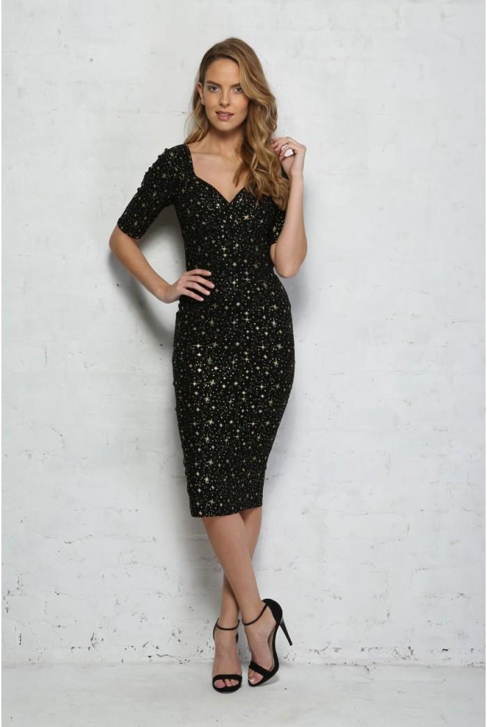 Collectif Trixie Atomic Star Dress Star Print Wiggle Dress