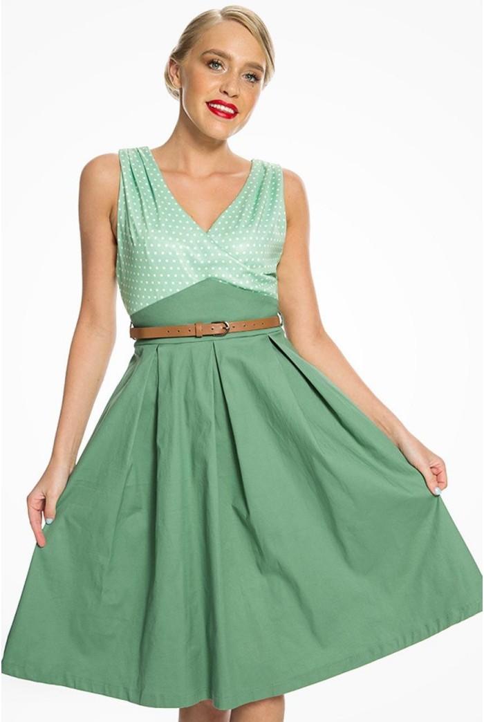 Green Polka Dot Swing Dress