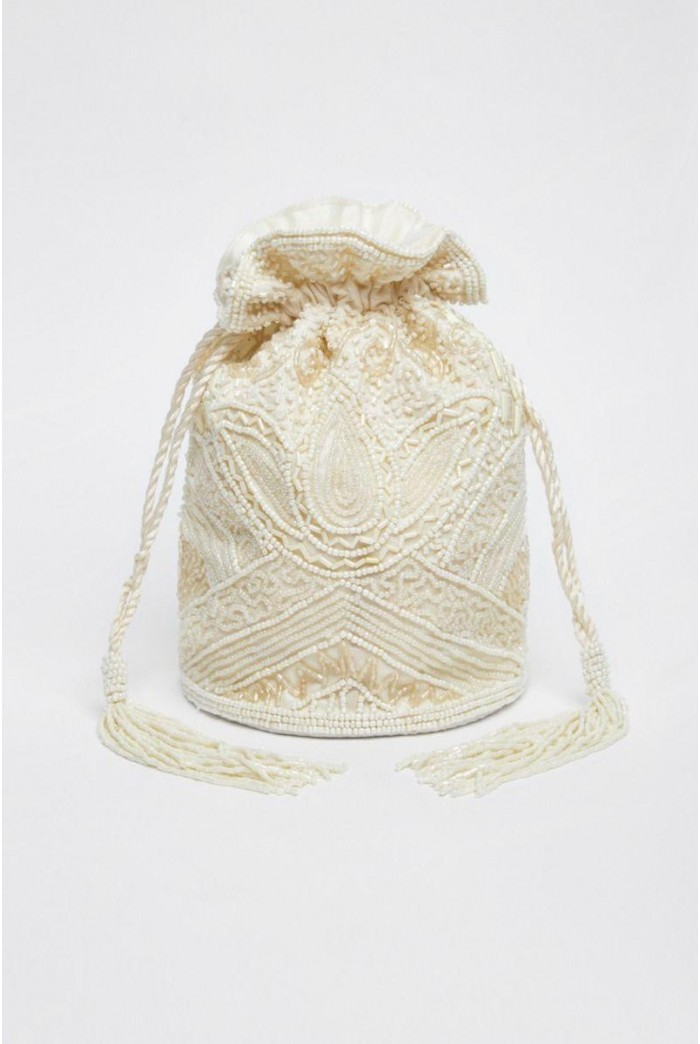 Beatrice Hand Embellished Bucket Bag in Cream