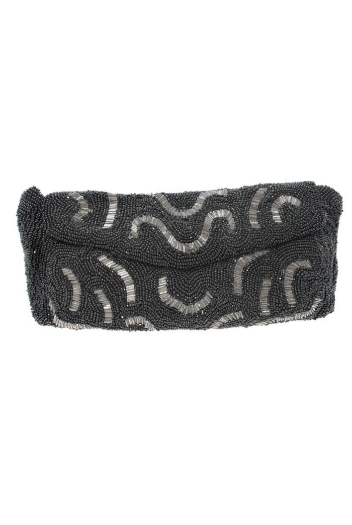 Vintage 1930s Black Bead Clutch