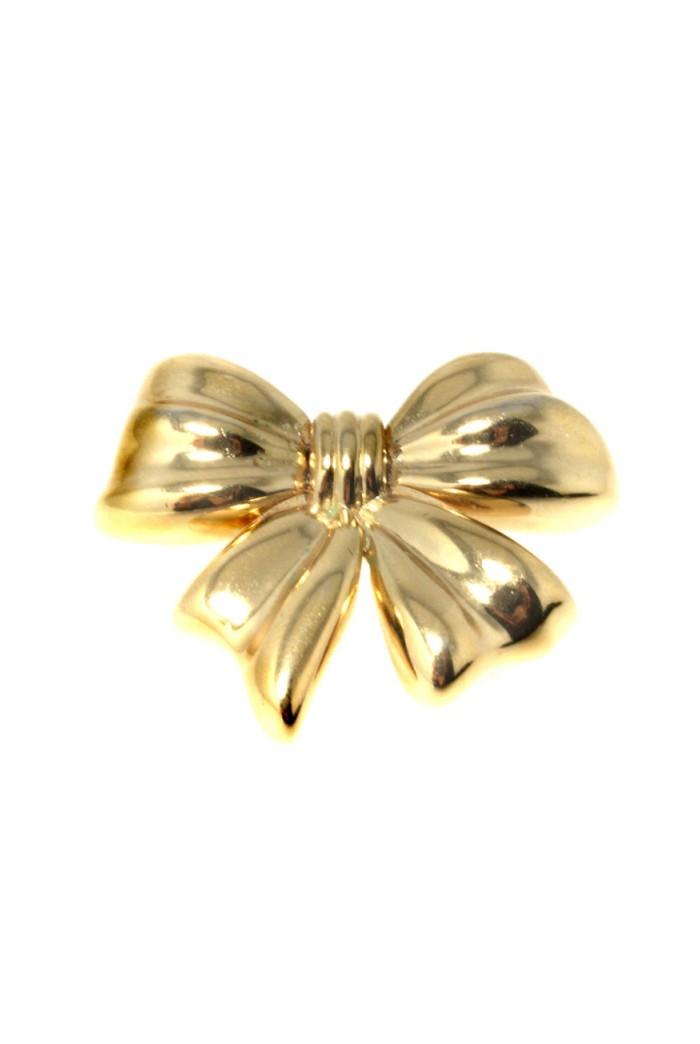 Vintage Swarovski Gold Bow Brooch 1970s Gold Brooch