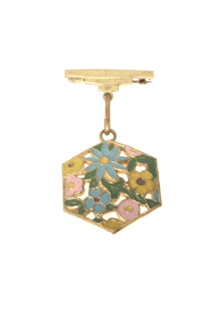 Vintage Floral Medal Brooch